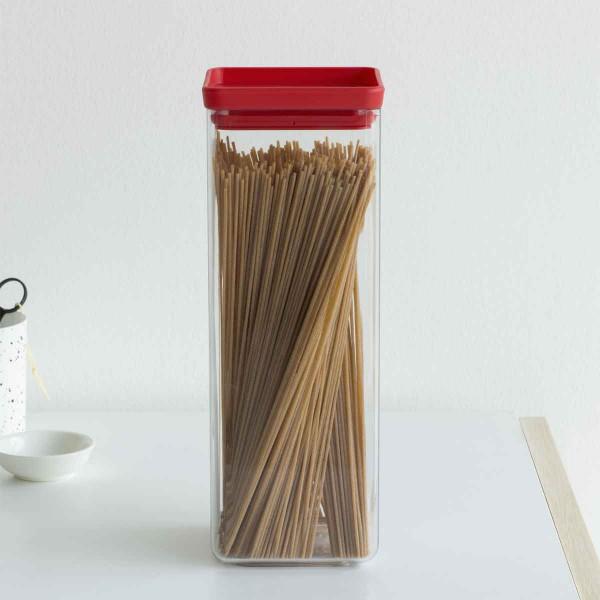 ֿקופסת אחסון פלסטיק שקוף 2.5 ליטר, מכסה אדום Brabantia – ללא BPA