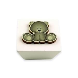 כפתור עץ מרובע קרם + דובי