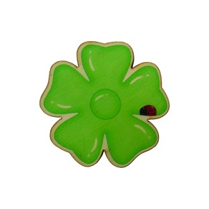 כפתור עץ פרח חיפושית ירוק