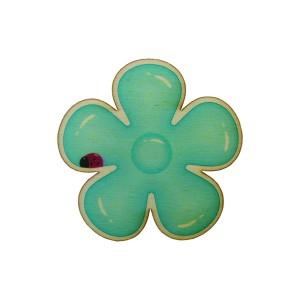 כפתור עץ פרח דינו כחול