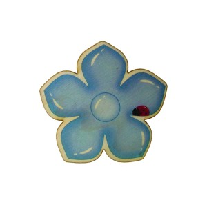 כפתור עץ פרח חיפושית סגול