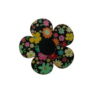 כפתור עץ פרח שחור