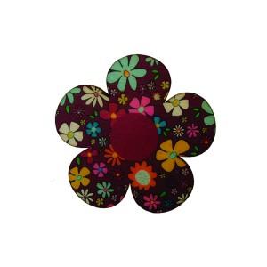 כפתור עץ פרח אדום