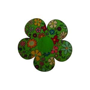 כפתור עץ פרח ירוק