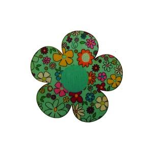 כפתור עץ פרח תכלת