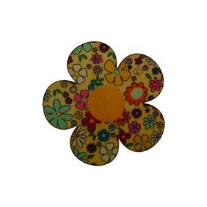 כפתור עץ פרח צהוב