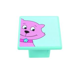 כפתור חתול ורוד על תכלת8045/36