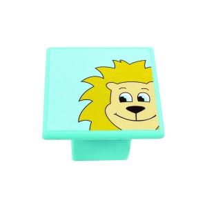 כפתור אריה צהוב על תכלת 8045/36