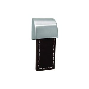 כפתור עור חום דגם 23770 ניקל מוברש