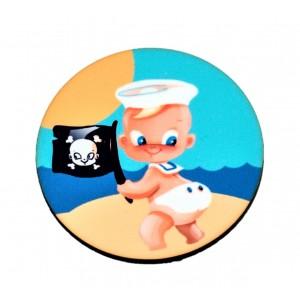 כפתור פיראטים דגל שחור TYD051