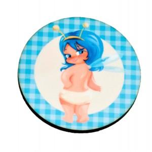 כפתור פיה שיער כחול TYD095