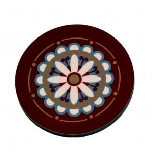 כפתור מנדלה רטרו פרח חום TYD110