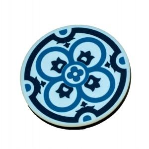 כפתור מנדלה רטרו כחול 4 עלי כותרת TYD113