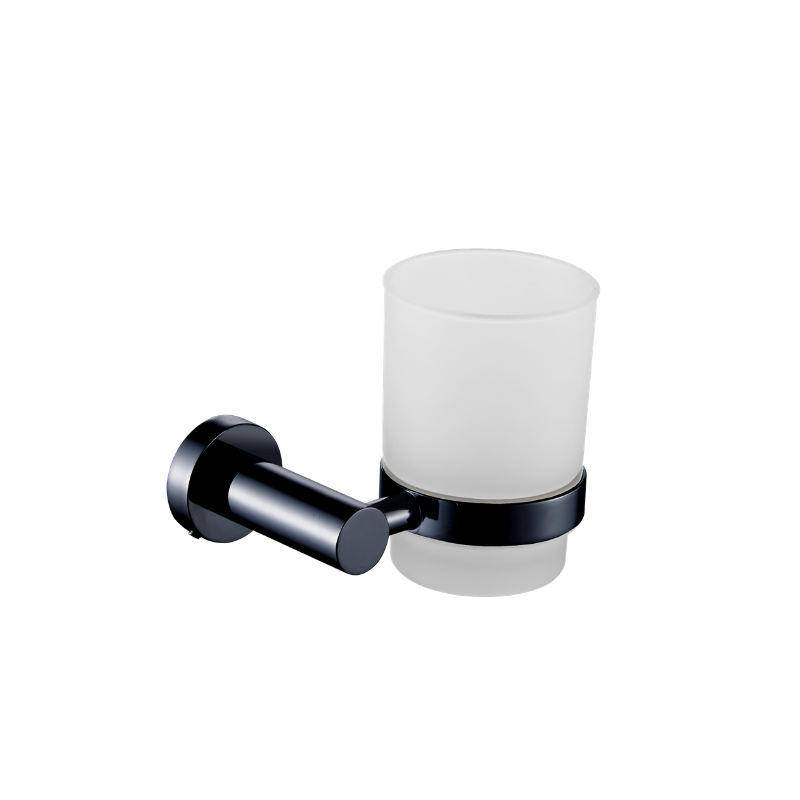 כוס למברשות שיניים לקיר ROUND שחור מט