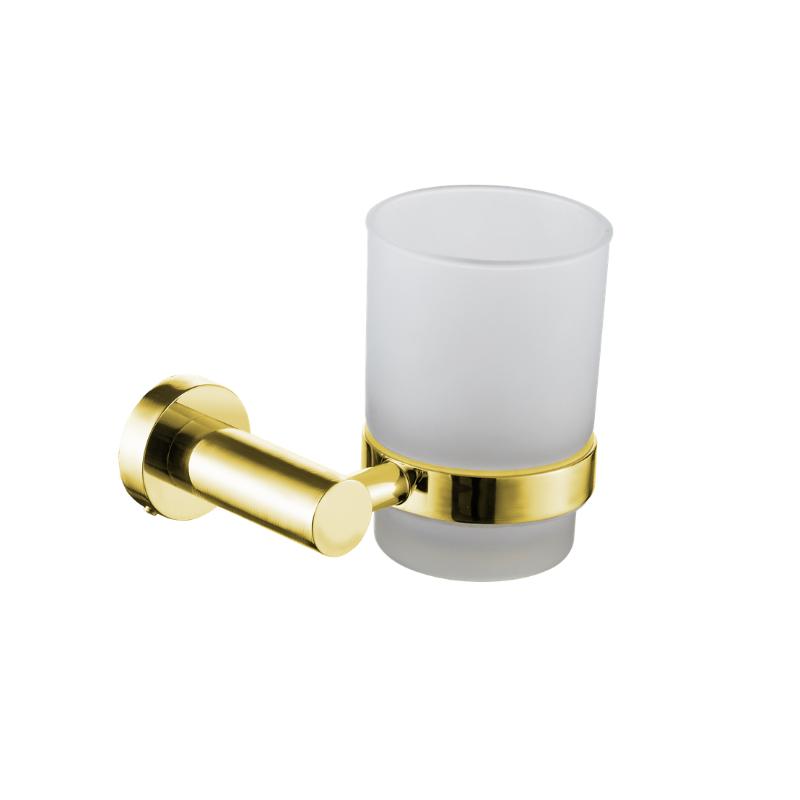 כוס למברשות שיניים לקיר ROUND זהב מט