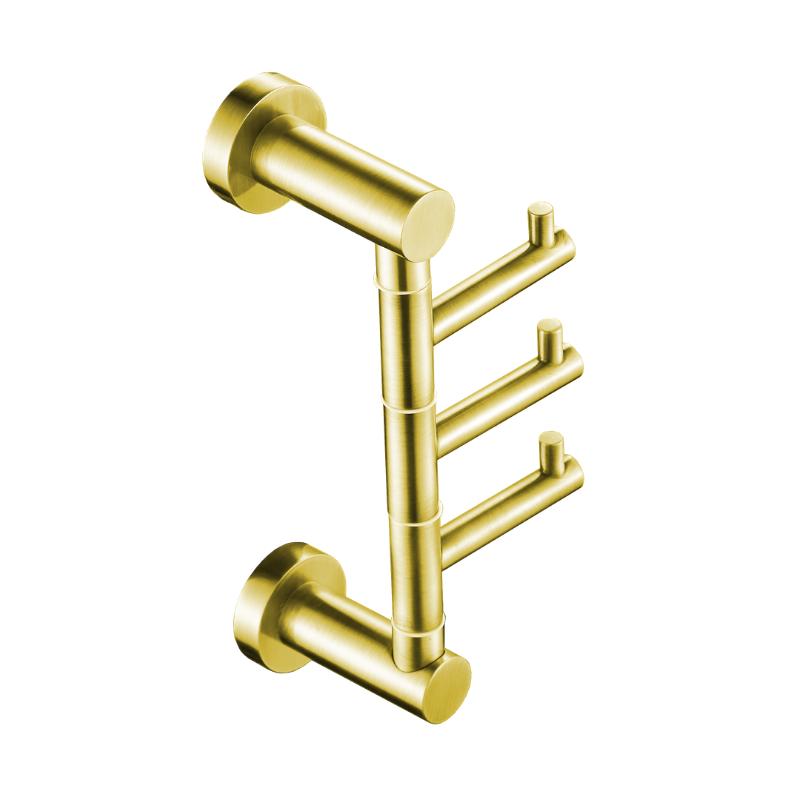 קולב שלישיה למגבות אמבטיה ROUND זהב מט