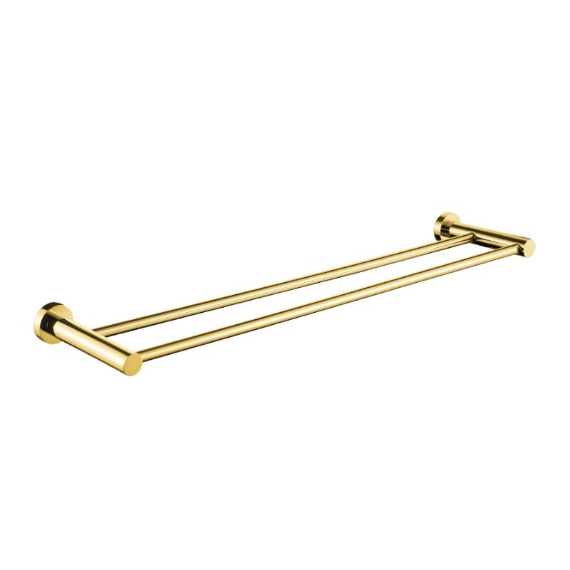 מוט כפול למגבות 45, 60, 80 ס״מ ROUND זהב מט