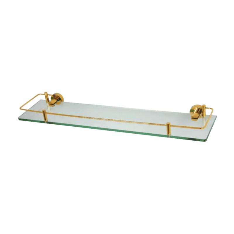 מדף זכוכית 53 ס״מ CLASS זהב זכוכית שקופה