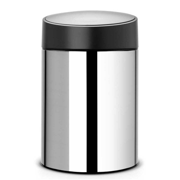 פח אשפה סלייד 5 ליטר מבריק מכסה שחור כולל תליה Brabantia
