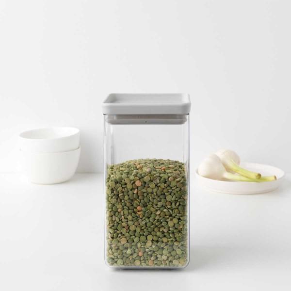 קופסת אחסון פלסטיק שקוף 1.6 ליטר, מכסה אפור בהיר Brabantia – ללא BPA