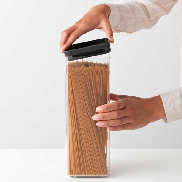 קופסת אחסון פלסטיק שקוף 2.5 ליטר, מכסה אפור כהה Brabantia – ללא BPA