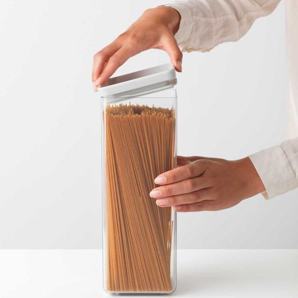 קופסת אחסון פלסטיק שקוף 2.5 ליטר, מכסה אפור בהיר Brabantia – ללא BPA