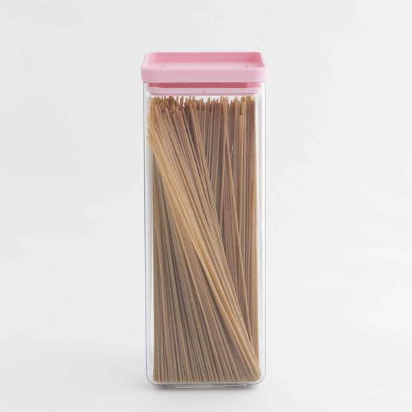 קופסת אחסון פלסטיק שקוף 2.5 ליטר, מכסה ורוד Brabantia – ללא BPA