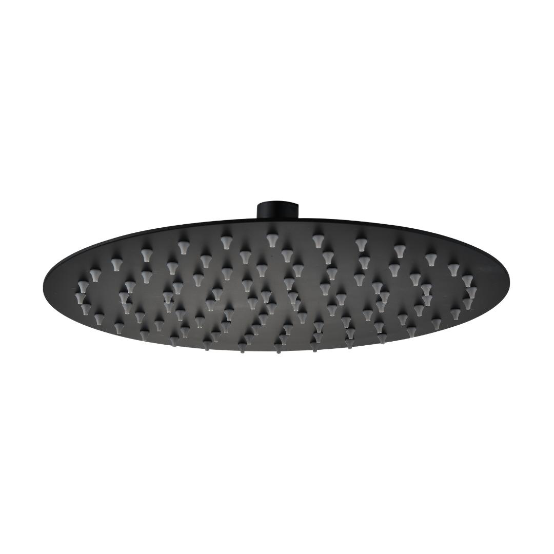 ראש מקלחת עגול אטלנטיק שחור מט