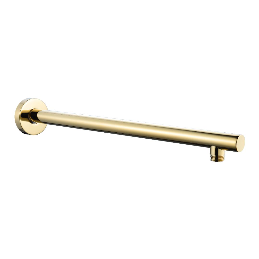"""זרוע עגולה כבדה 40 ס""""מ לראש טוש למקלחת זהב מבריק BRASS"""