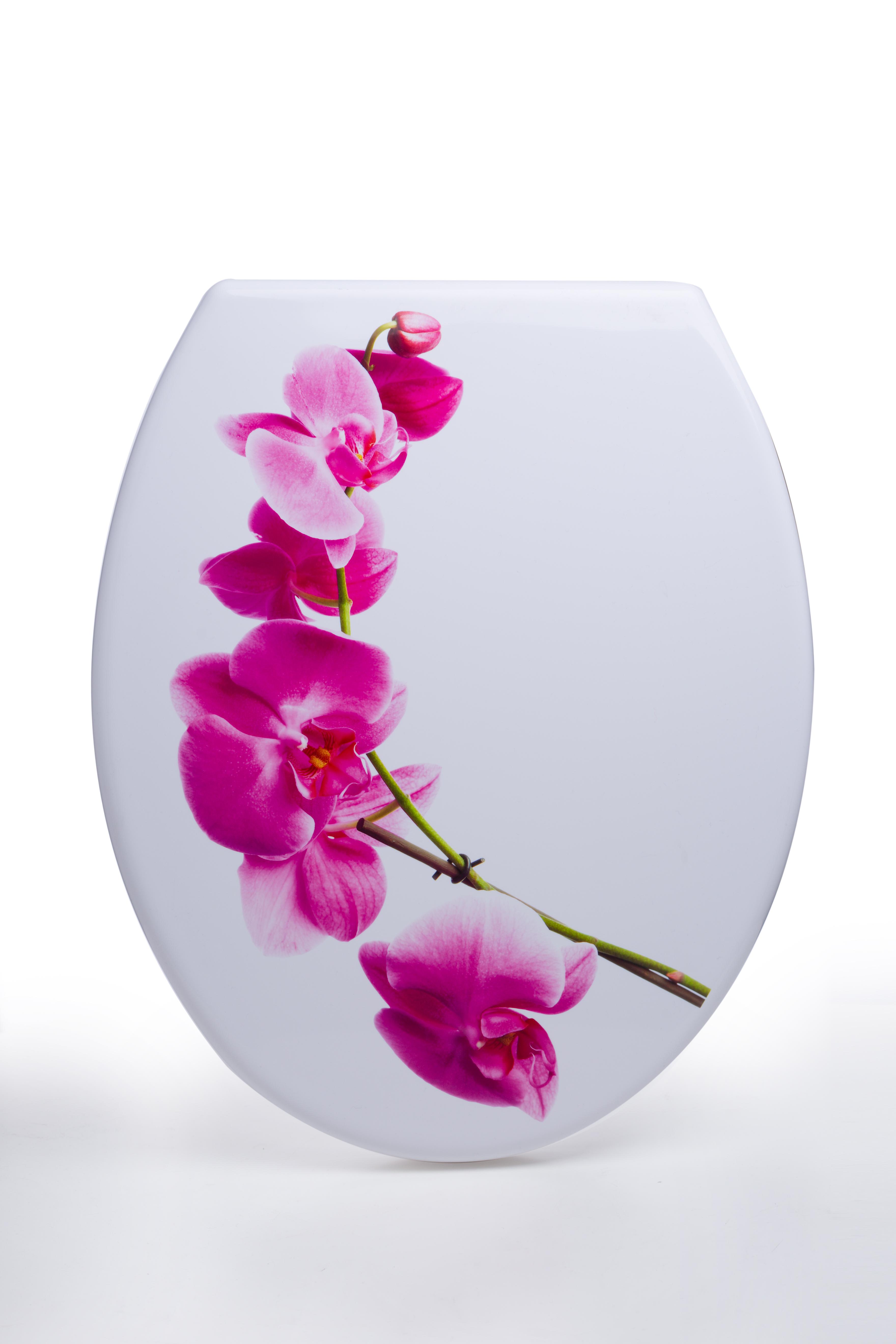 מושב אסלה מעוצב ציר נשלף דגם פרחים