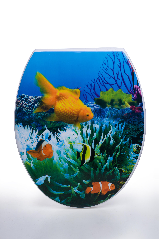 מושב אסלה מעוצב ציר נשלף דגם דגים