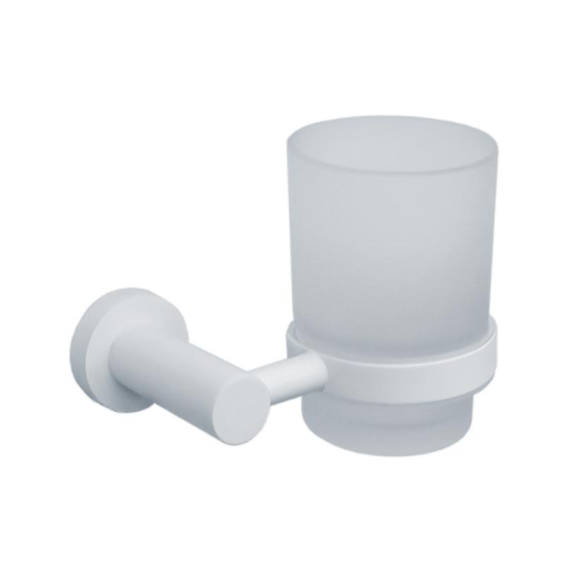 כוס עגולה למברשות שיניים לקיר ROUND לבן