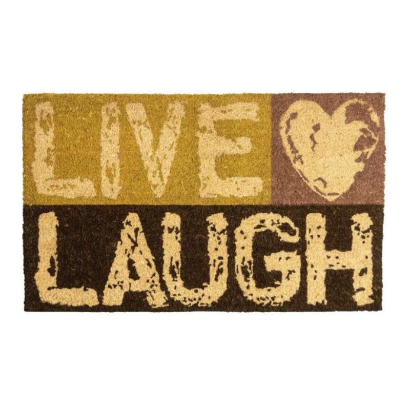 שטיח סף Live Laugh, קוקוס טבעי – 45/75 ס״מ  LAKO